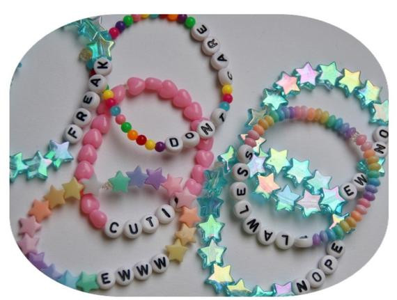 Anklet With Words TWO CUSTOM bracelets cute kawaii beaded pastel by