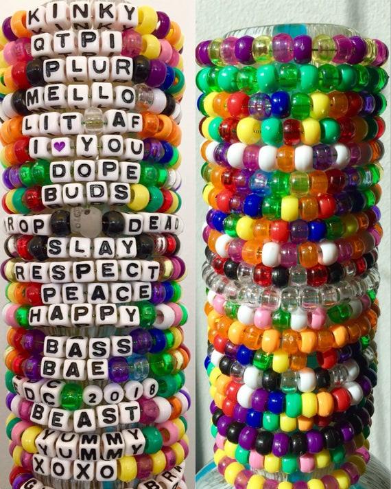 Anklet With Words 1 custom Kandi bracelet Pick colors phrases Rave kandi