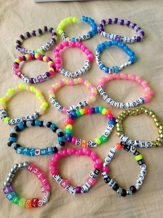 Anklet With Words 20 Kandi Rave Music Festival Bracelets Custom by