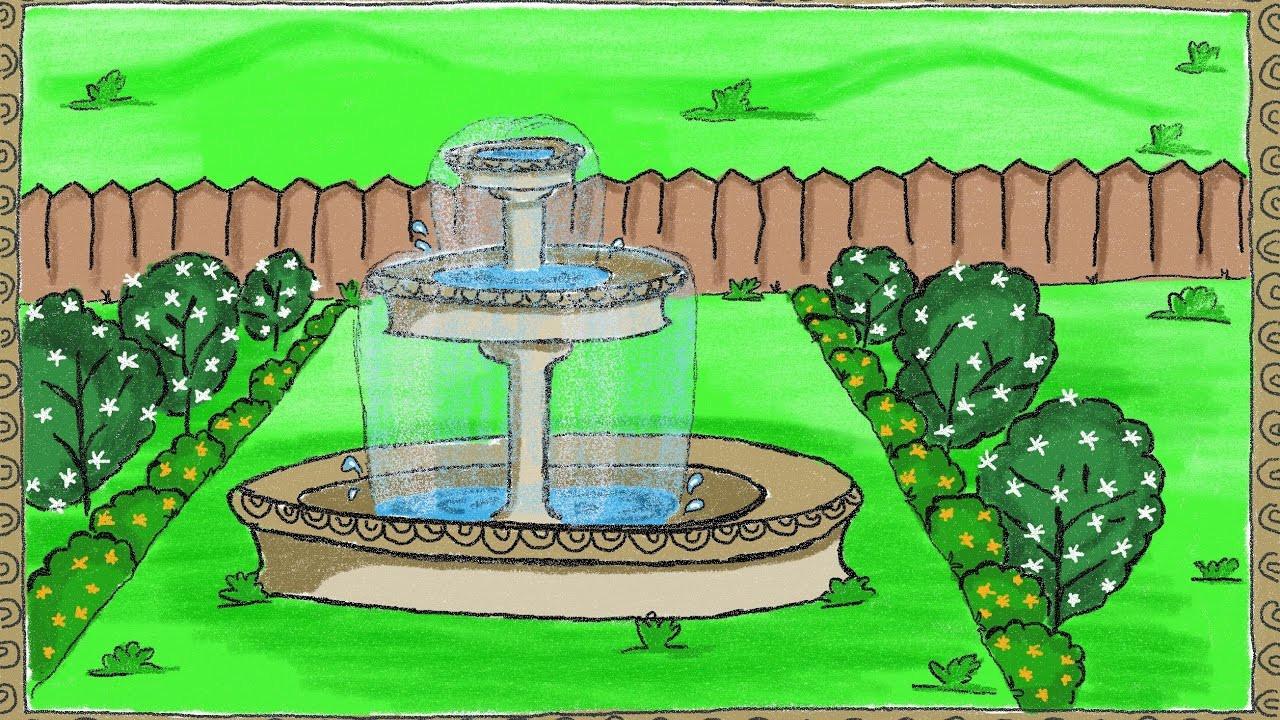 Landscape Fountain Sketch Drawing a simple garden fountain