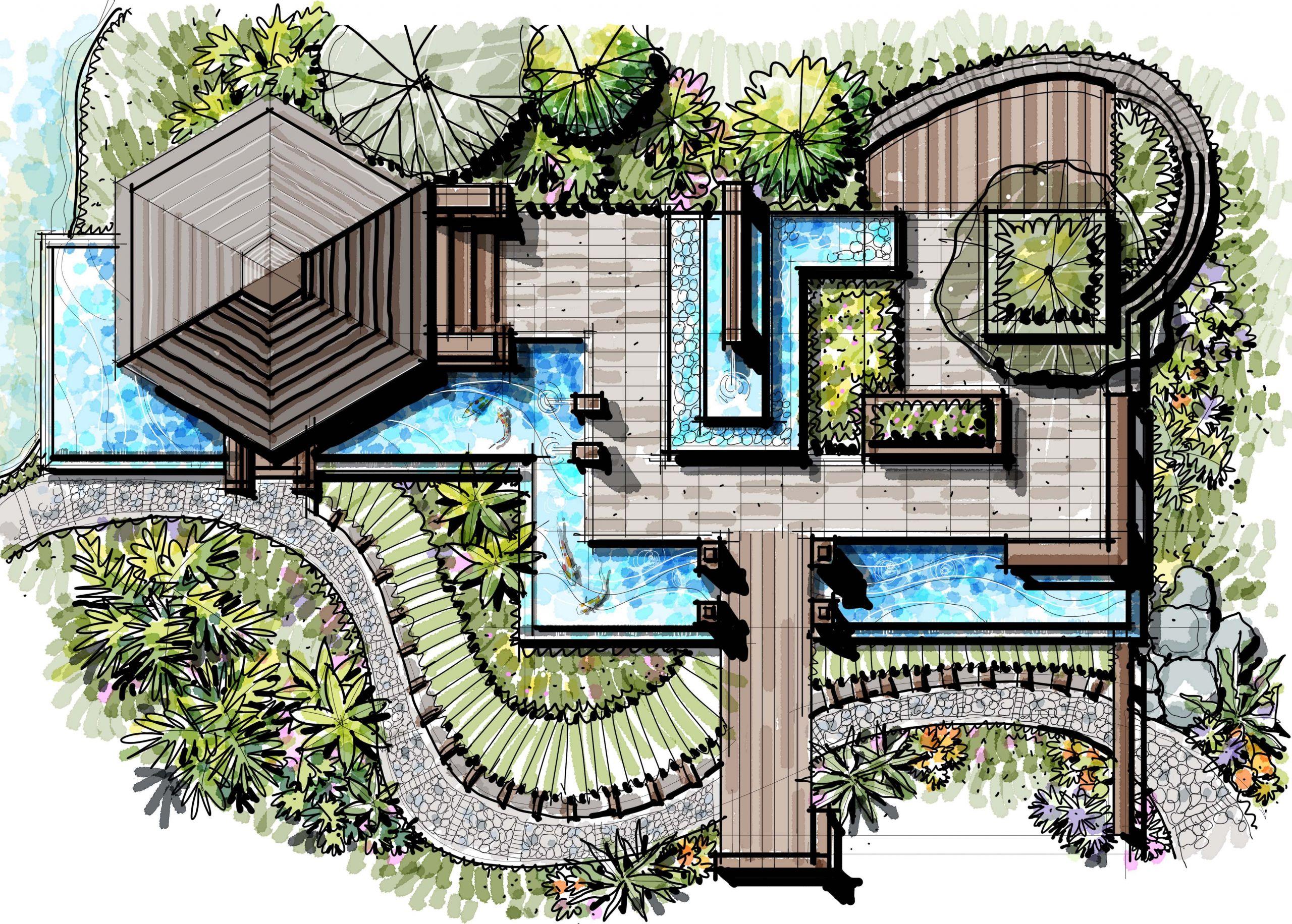 Landscape Fountain Sketch pavilion landscape pavilion Water Edge Landscape