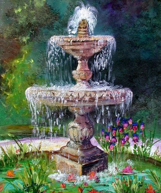 """Landscape Fountain Sketch """"Fountain In French Garden Painting by Ginette"""" by Ginette"""