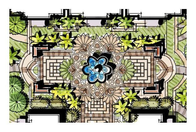 Landscape Fountain Sketch entry fountain flower fountain water fountain landscape