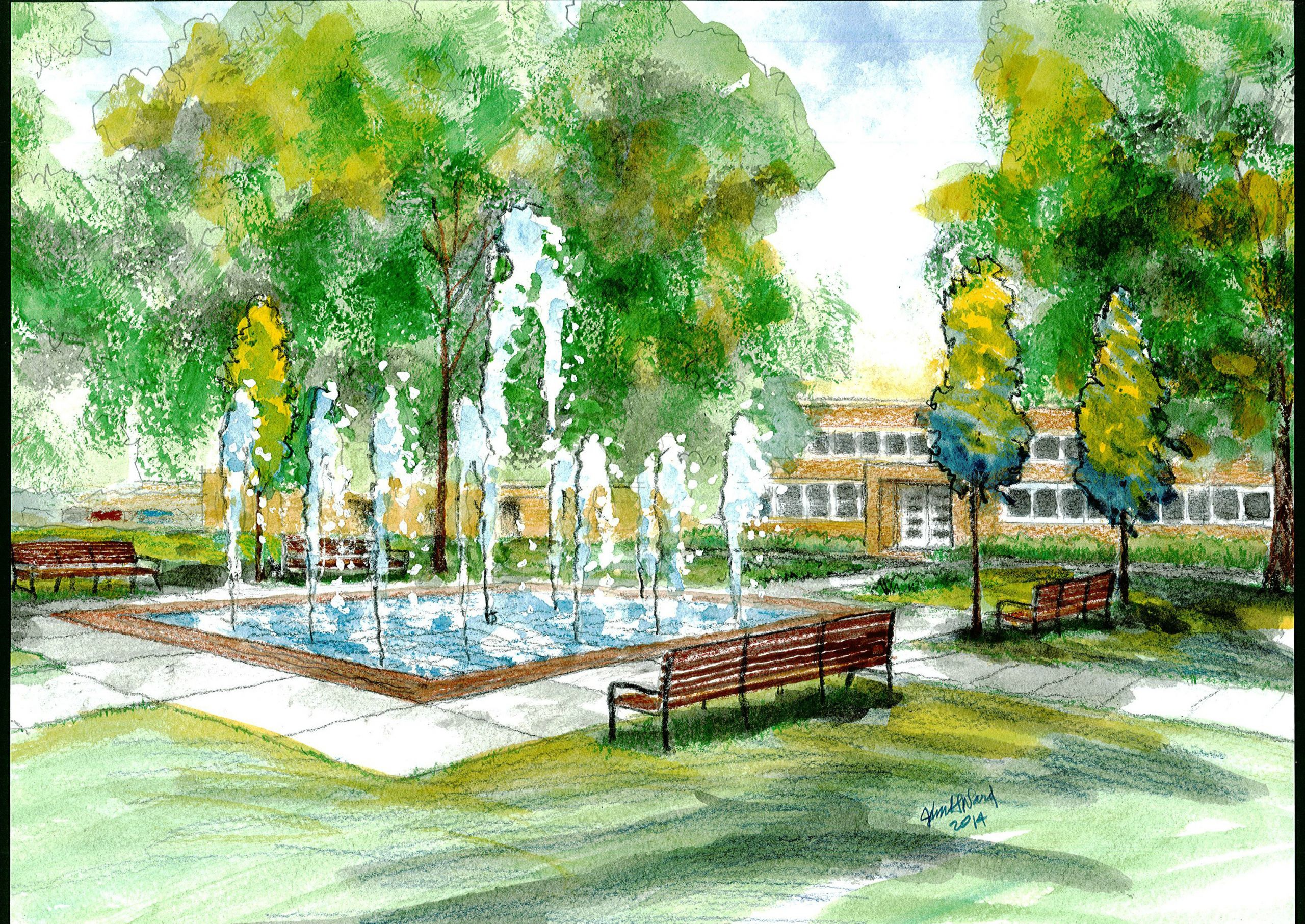 Landscape Fountain Sketch 40 Fountain Landscape Design Drawing Fountain Roof Cad