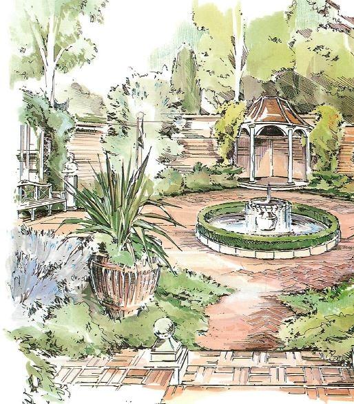 Landscape Fountain Sketch Georgian Garden Designs – The Gardening Bible