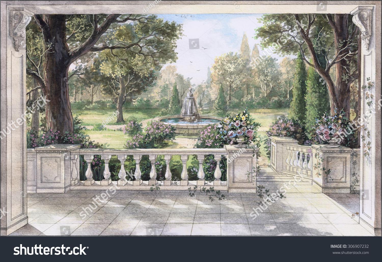 Landscape Fountain Sketch Hand Drawn Watercolor Sketch Landscape Fountain Stock
