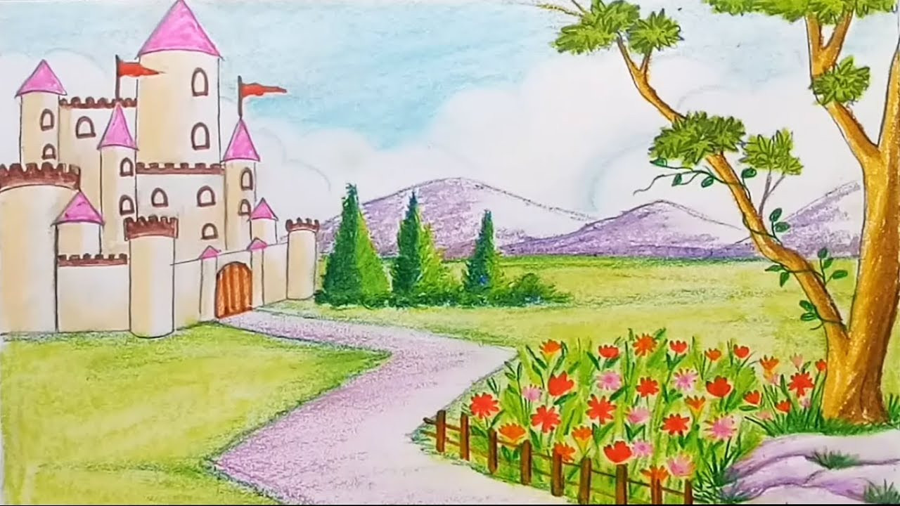 Landscape Fountain Sketch How to draw a scenery of flower garden with castle step by
