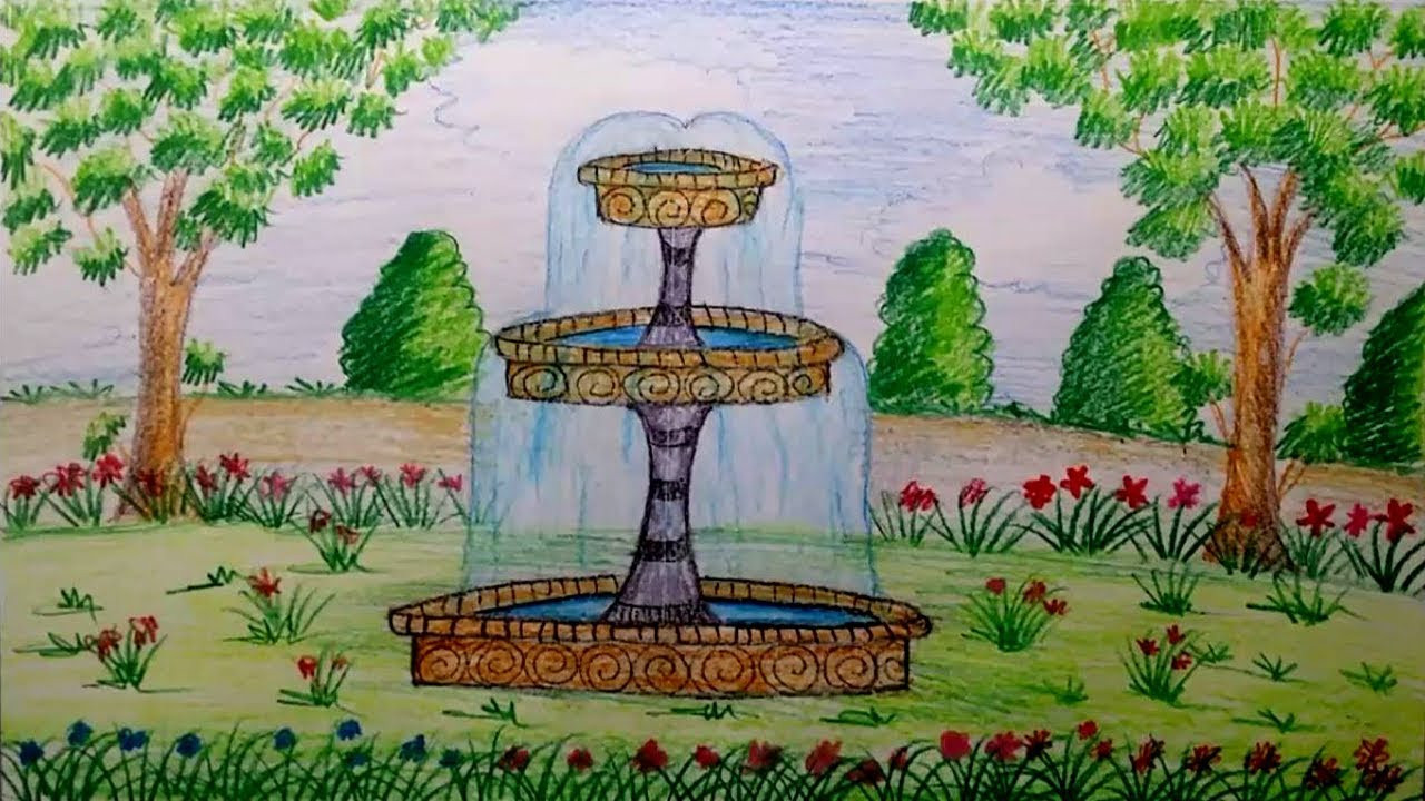 Landscape Fountain Sketch How to draw Garden Fountain step by step by using water