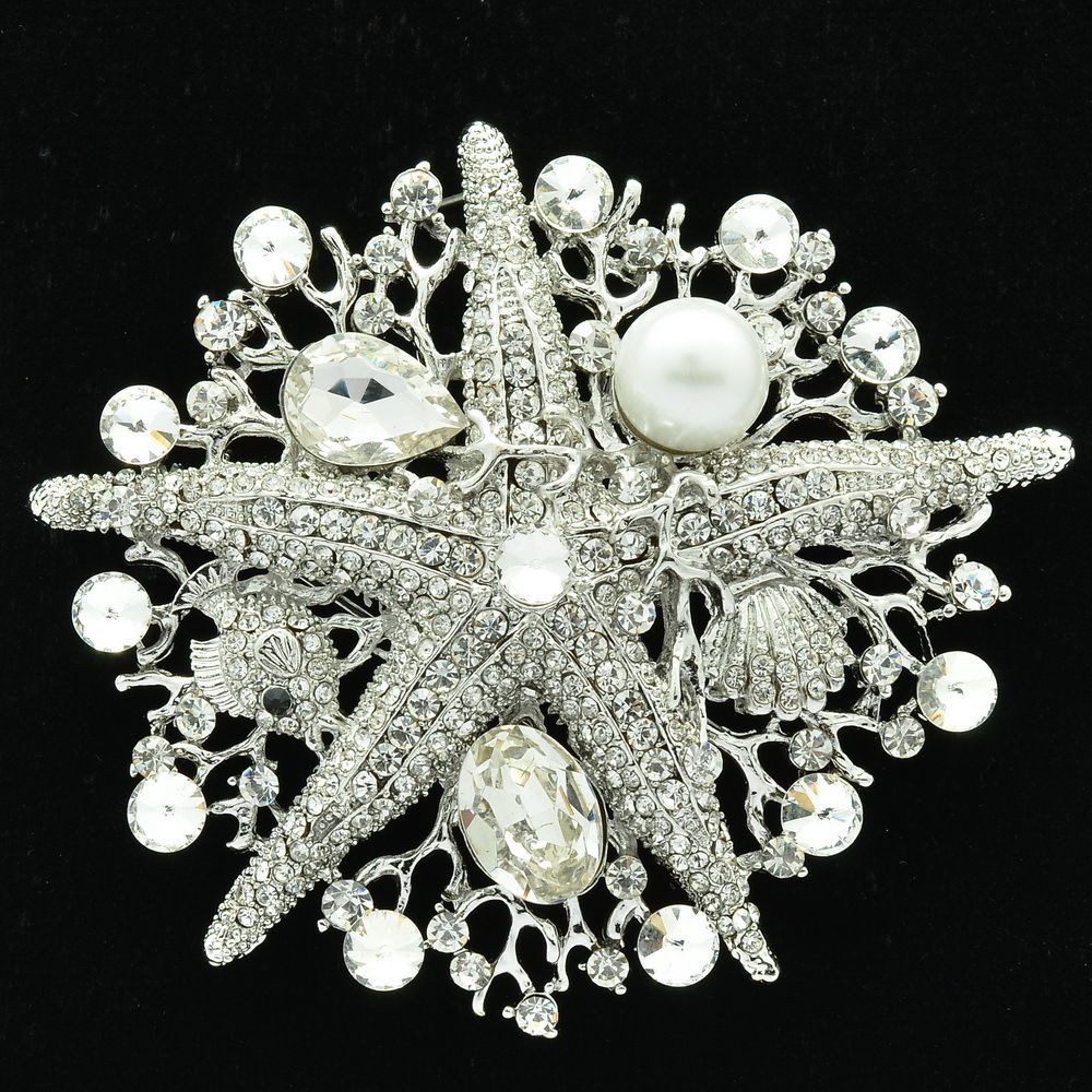 Pins Jewelry Wedding Bridal Starfish Brooch Broach Pins Jewelry Clear