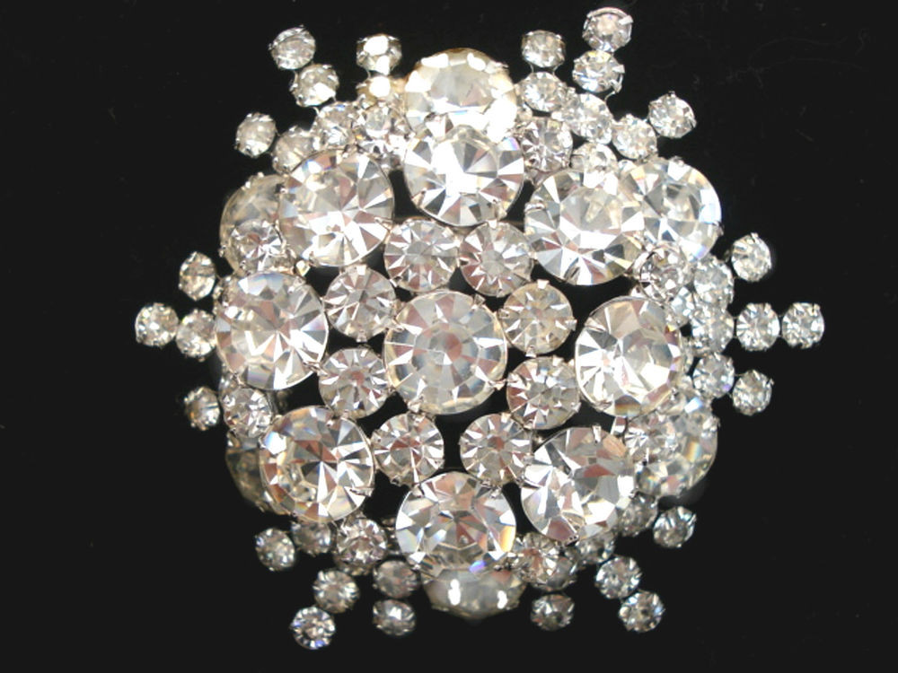 Pins Jewelry Vintage JULIANA Costume Jewelry Clear Rhinestone Brooch