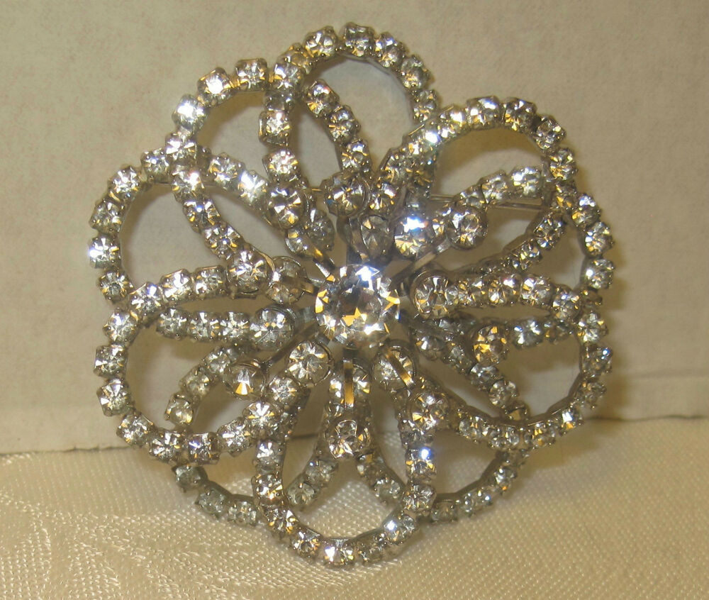 Pins Jewelry Rhinestone Flower Sunburst Silvertone Pin Brooch