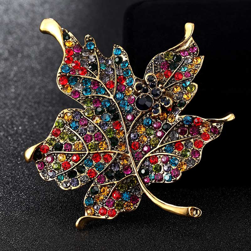 Pins Jewelry Blu e Enamel Brooches Jewelry Big Size Leafs Brooch Pins