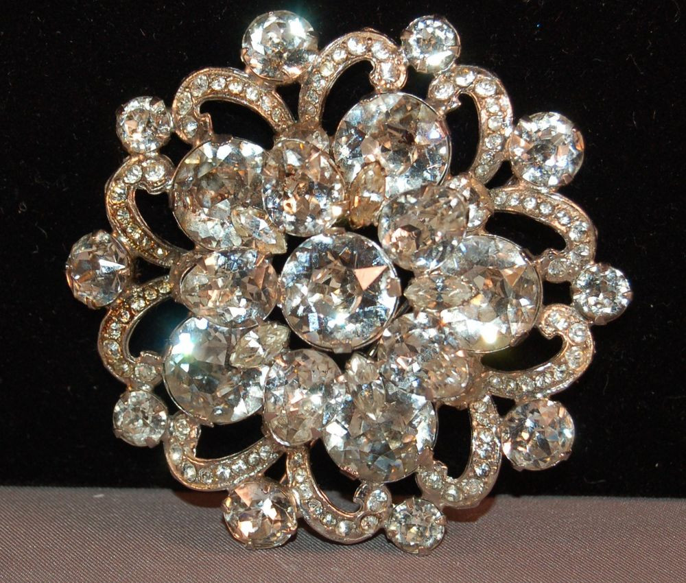 Pins Jewelry EYE POPPING Layered Eisenberg Vintage Rhinestone