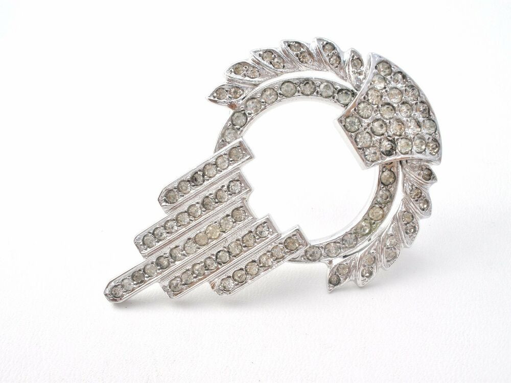 Pins Jewelry Rhodium Plated Sterling Silver Rhinestone Pendant Brooch
